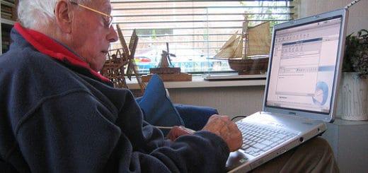 Senior man working remotely